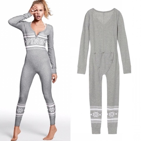 VS Pink Thermal Grey Fair Isle Onesie Pajamas L. M 5a7c84e350687c115dad227e 75223e4c3